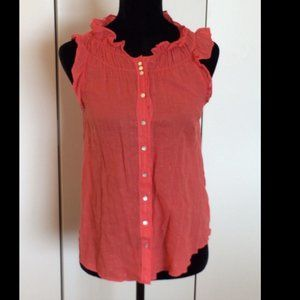 Coral Silver Colored Sleeveless Button Down Top